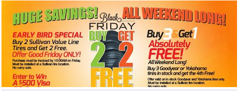 Sullivan Tire Black Friday Buy 2 Get 2 Tires Free How To Shop For