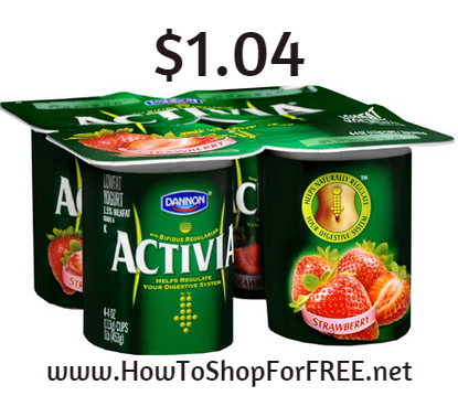 Dannon Activia 4pk $1.04