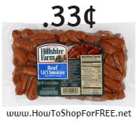 Hillshire farm coctail franks .33