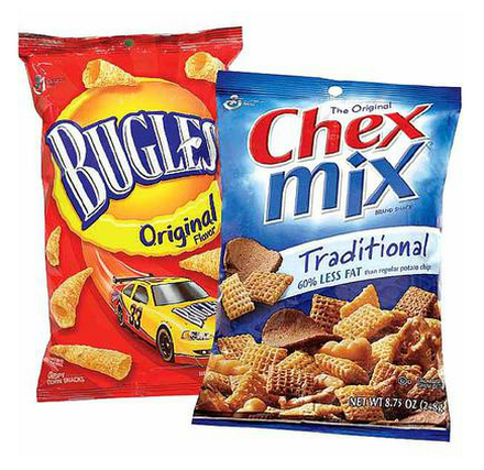 Chex mix and Bugles together