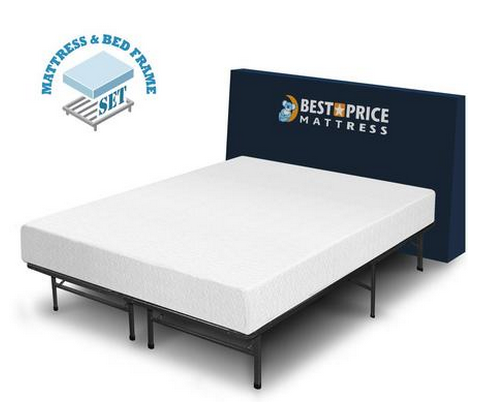 53 off 8 inch memory foam mattress steel bed frame set for Bed frame and mattress deals