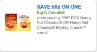 Save $0.50 when you buy ONE BOX Honey Nut Cheerios OR Honey Nut Cheerios Medley Crunch™ cereal