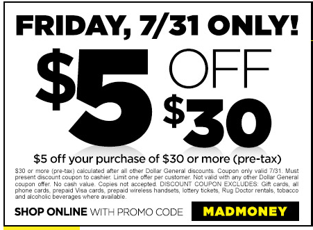 picture relating to Printable Dollar General Coupons named 7/31 Merely *PRINTABLE $5/$30 Greenback Over-all COUPON* How towards