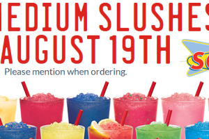 8/19 ONLY! $0.79 Medium Slushes @ Sonic!