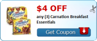 NEW $4/3 Carnation Breakfast Essentials coupon
