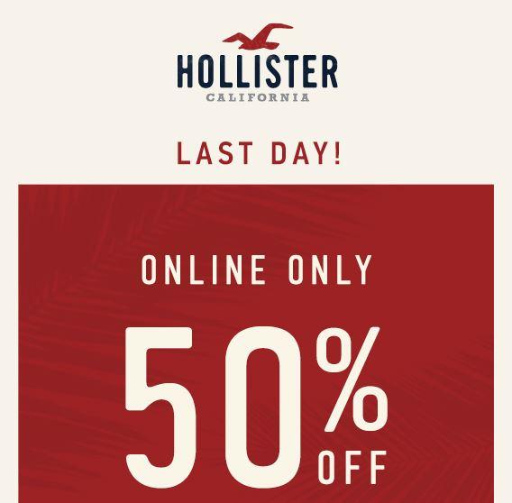 hollister 50 off sale