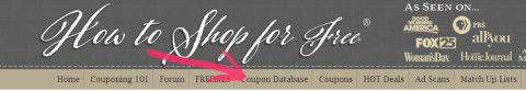 coupon database toolbar