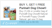 *NEW* BOGO Purina Dog/Puppy Natural Chow Q!