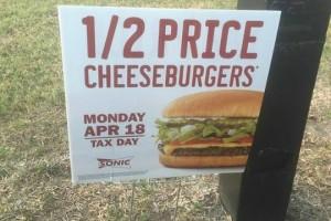 1/2 Price Cheeseburgers 4/18 @ Sonic!