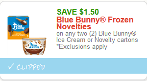 *HOT* $1.50/2 Blue Bunny Ice Cream or Novelties!