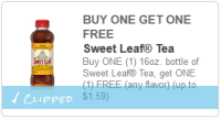 .50 Sweet Leaf Iced Tea @ Walmart w/ NEW BOGO Q!