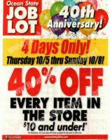 4 Days Only~ 40% OFF EVERYTHING $10 or Less at Job Lot!!!