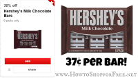 Hershey Bars ONLY .37 each at Target!!