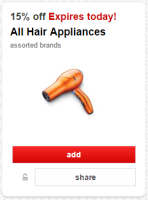 15% off Hair Appliances @ Target *Last Day!*