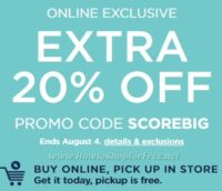 Through 8/4, Extra 20% off Kohl's online orders!