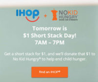 TODAY! IHOP Short Stack of Pancakes for $1, 100% Goes to Charity!