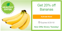 SavingStar Healthy Offer – 20% off Bananas through 08/29/16