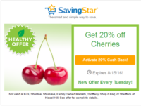 SavingStar Healthy Offer – 20% off Cherries