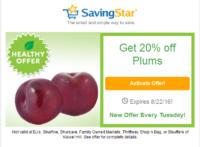 SavingStar Healthy Offer of the Week – 20% off Plums
