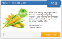 *NEW* SavingStar Healthy Offer – 20% Off Loose Corn