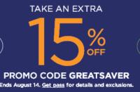Save 15% at Kohl's through 08/14