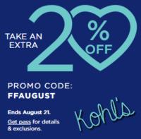 Kohl's Extra 20% off through 8/21