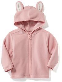 Micro Fleece Bunny-Ear Hoodie for Baby - DUST BUNNY PINK