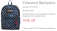 WOW! 10% off Clearance Backpacks @ Target!