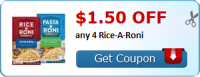 RARE PRINTABLE ~ $1.50 off 4 Rice/Pasta-Roni!! Run + Print!