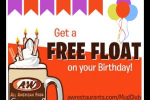 Free Birthday Float ~ Sign Up for A&W Mug Club!