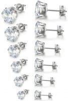 80% OFF Cubic Zirconia Earrings (Hypoallergenic) 6 Pairs for $7.99!!
