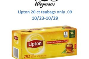 Stock up on Lipton tea for just .09 each at Wegmans