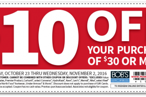 NEW Bob's Stores Coupons, Including $10/$30! Great for Gifts!