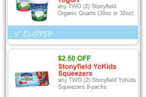 Save up to $5 on Stonyfield Yogurt Products!!