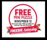 11/12: Kmart Freebie Saturday ~ Free Mini Puzzle!