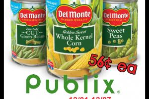 56¢ Del Monte Veg @ Publix (12/01-07) Order Coupons Now!