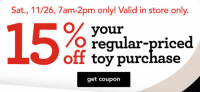 """15% Toys""""R""""Us Toy Coupon, In-Store Until 2pm! +20% off Other Stuff!"""