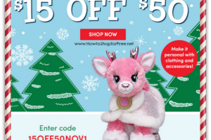 Save $15 off $50 Build-A-Bear Order ~ Wow! (Online Only)