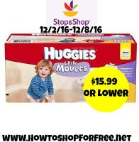 Hot Deal Huggies Giant Box of Diapers $15.99 Possibly lower at Stop & Shop (12/2/16-12/8/16)