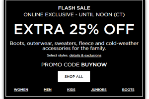 Kohl's Flash Sale until 1pm EST ~ Extra 25% OFF Cold-Weather Gear!