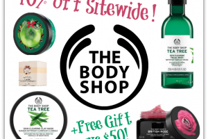40% OFF The Body Shop website + FREE Gift wys $50!