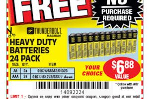 FREE 24pk of Batteries at Harbor Freight!