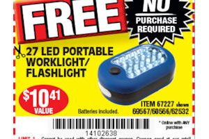 FREE Screwdriver, Worklight & Batteries at Harbor Freight!