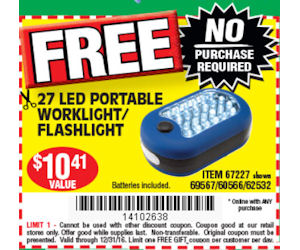 FREE Screwdriver, Worklight U0026 Batteries At Harbor Freight!