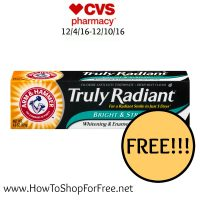 Whoa FREE Arm & Hammer Truly Radiant Toothpaste at CVS (12/4/16-12/10/16)