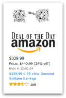 $110 OFF 0.75 cttw Diamond Solitaire Earrings—Deal of the Day