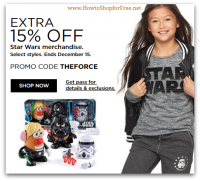 Extra 15% off Star Wars Gear from Kohl's! Two More Days!!