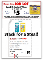 Lysol Wipes $1.33/canister @ Job Lot ~ Stack Your Savings!