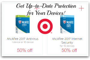 50% off McAfee 2017 with Cartwheel ~ Protect Your Devices!