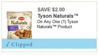 $2.00 off one Tyson Naturals ~ NEW Printable!